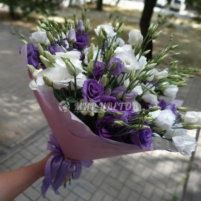 Букет Фиолетовых и Белых Эустом