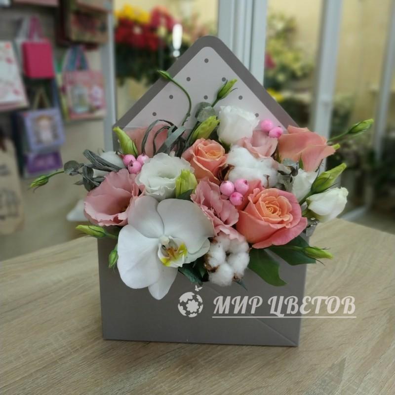 Конверт с цветами микс с орхидеей