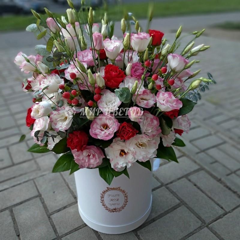 Коробка Макси эустомы и розы