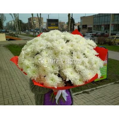 Букет 25 Белых Хризантем