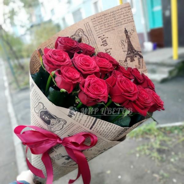 Букет 15 бордовых роз
