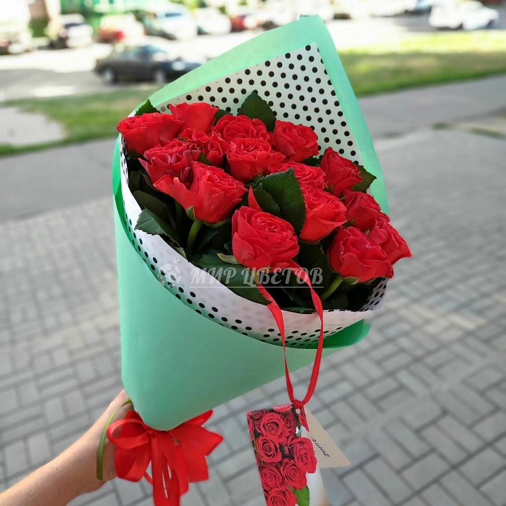 Букет 15 красных роз Эльторо 50см