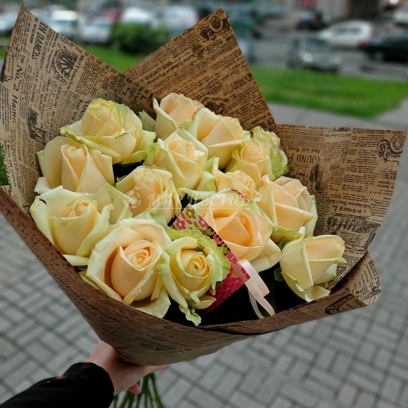 Букет 15 Персиковых роз