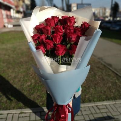 Букет 21 голландская роза красная