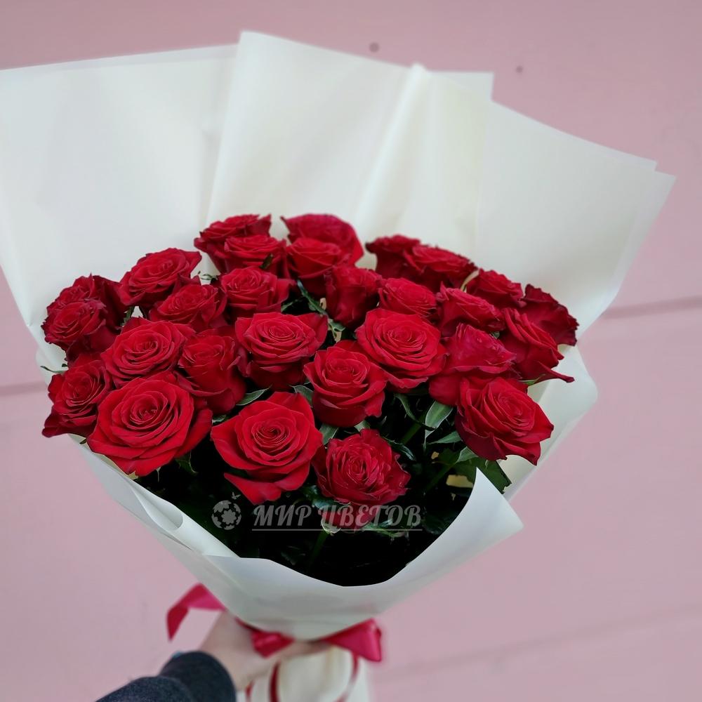 Букет 25 бордовых роз 70см