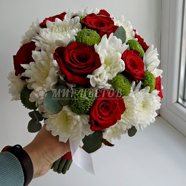 Свадебный Букет 56 красно-белый