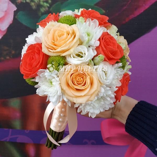 Свадебный Букет 32 персиковая роза и эустома
