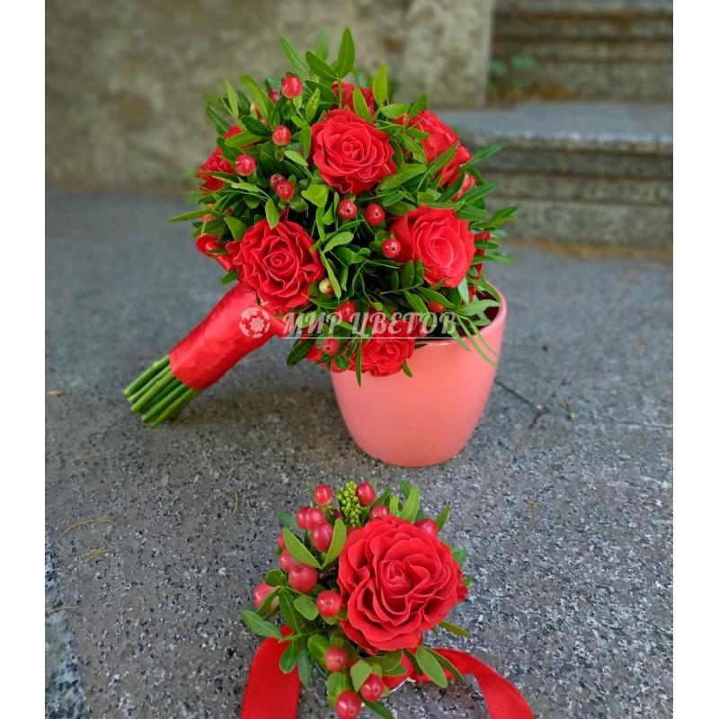 Свадебный Букет красные розы