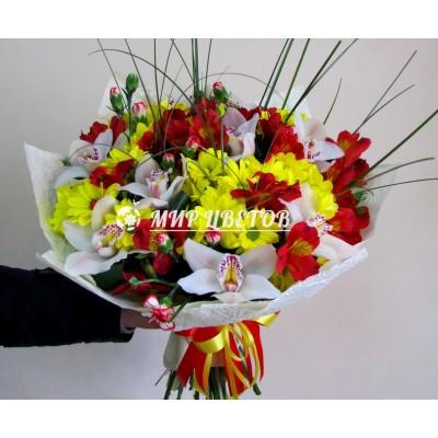 Букет Микс с орхидеями
