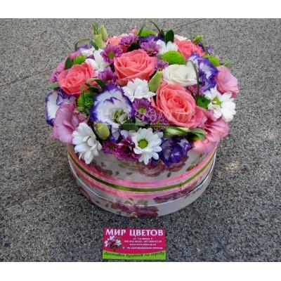Шляпная Коробка flowerbox в розовых тонах