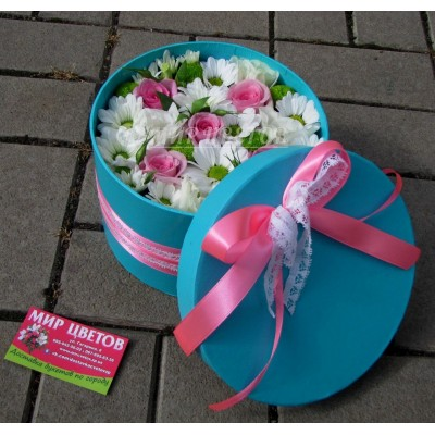 Шляпная Коробка flowerbox ментоловая