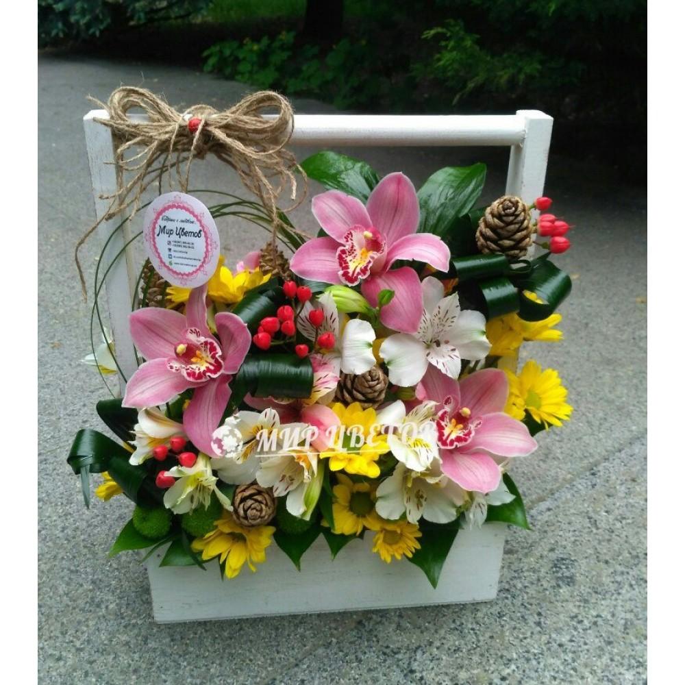 Деревянный ящичек с цветами 14 Розовая орхидея