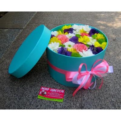 Шляпная коробка ментоловая с цветами, Flowerbox