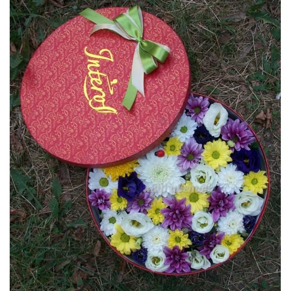 Круглая Коробка с цветами