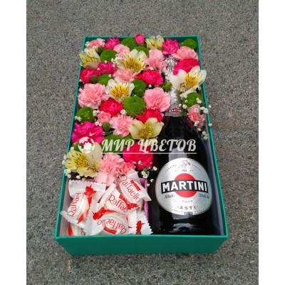 Коробка с цветами, Raffaello и Martini Asti