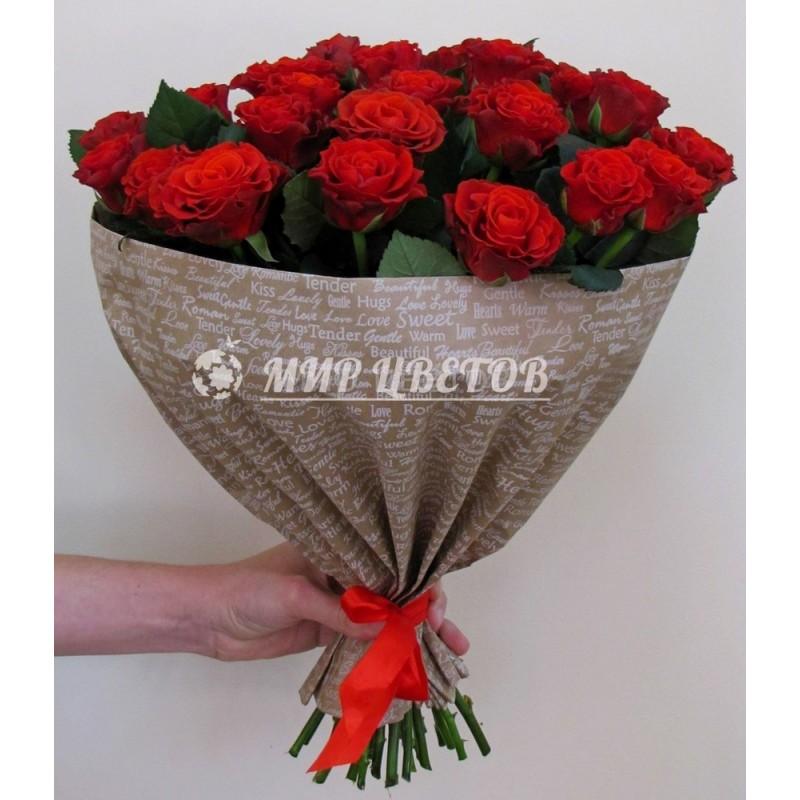 Букет 25 красных роз в упаковке крафт