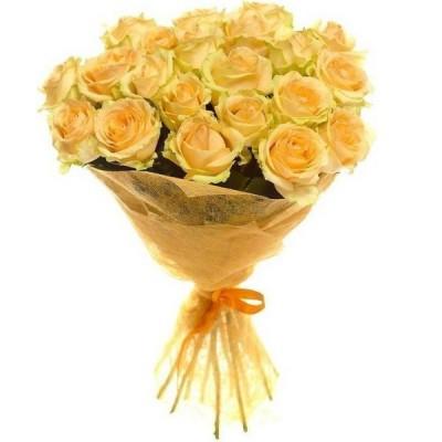 Букет 25 персиковых роз