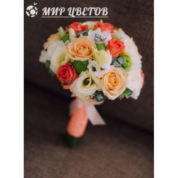 Свадебный Букет 14 микс благородная коралловая роза