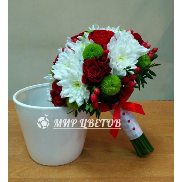 Свадебный Букет 39 бело-красный