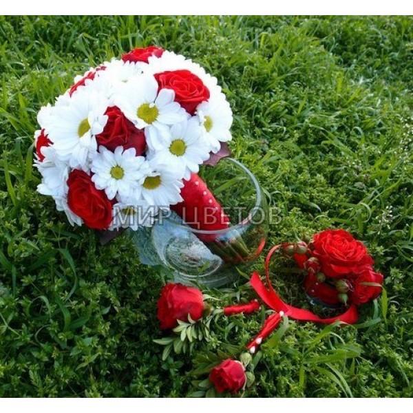 Свадебный Букет 29 ромашка роза