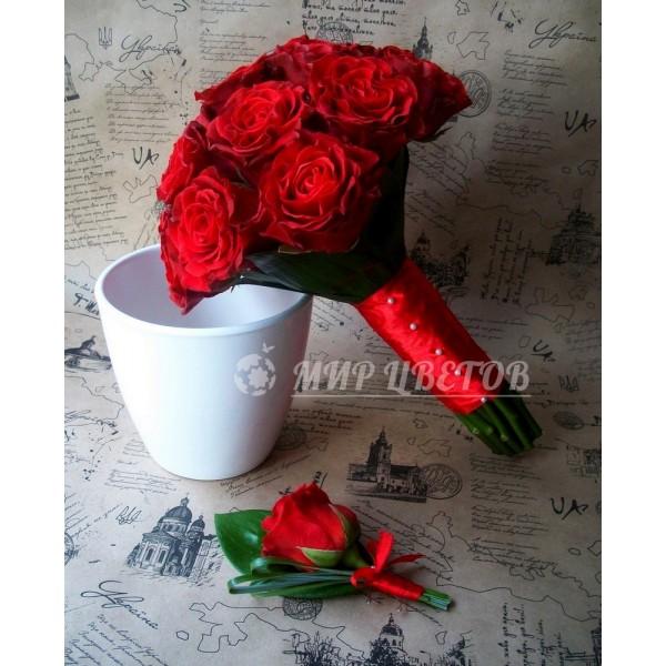 Свадебный Букет 27 классический красный