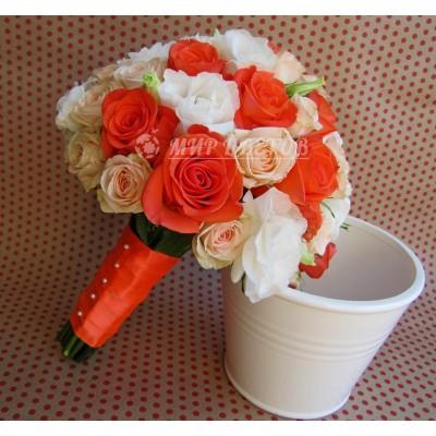 Свадебный Букет 46 с коралловой розой