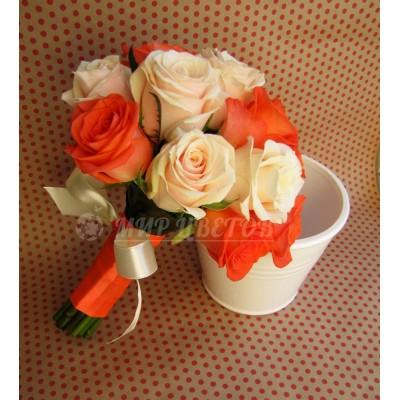 Свадебный Букет 47 с коралловой розой 2