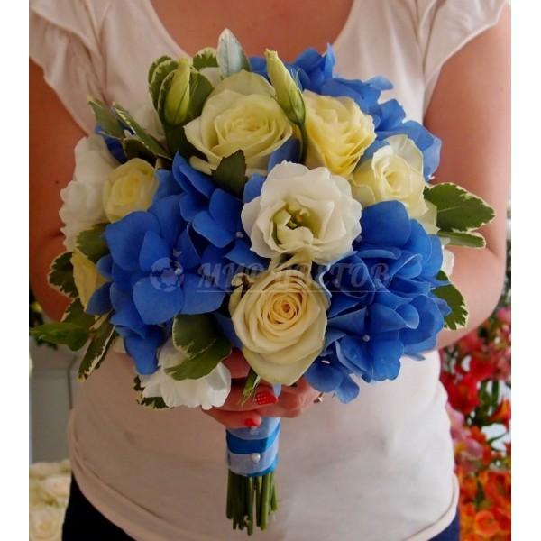 Свадебный Букет 18 с голубой гортензией