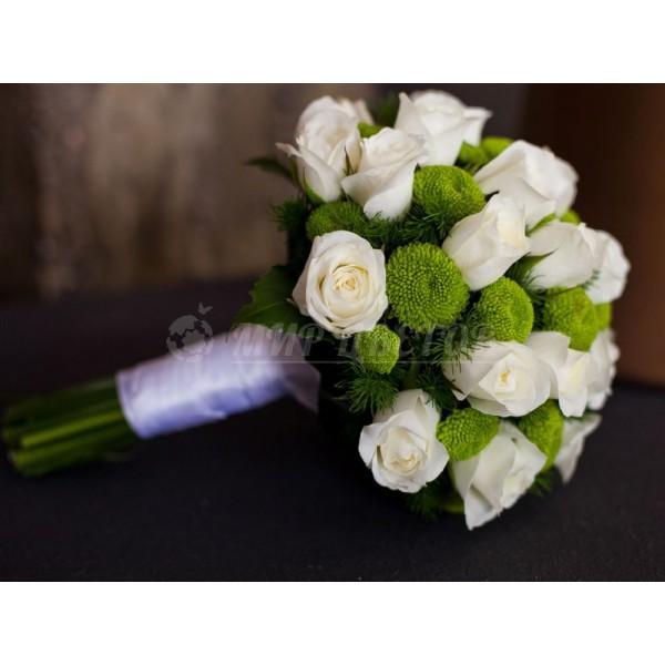 Свадебный Букет 13 филин грин и белая роза