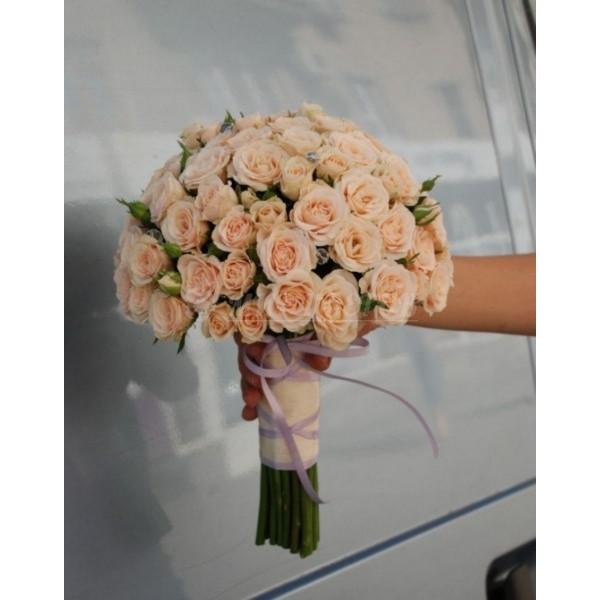 Свадебный Букет 11, кремовая веточная роза