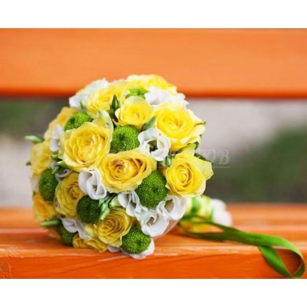 Свадебный Букет 17 с желтой розой