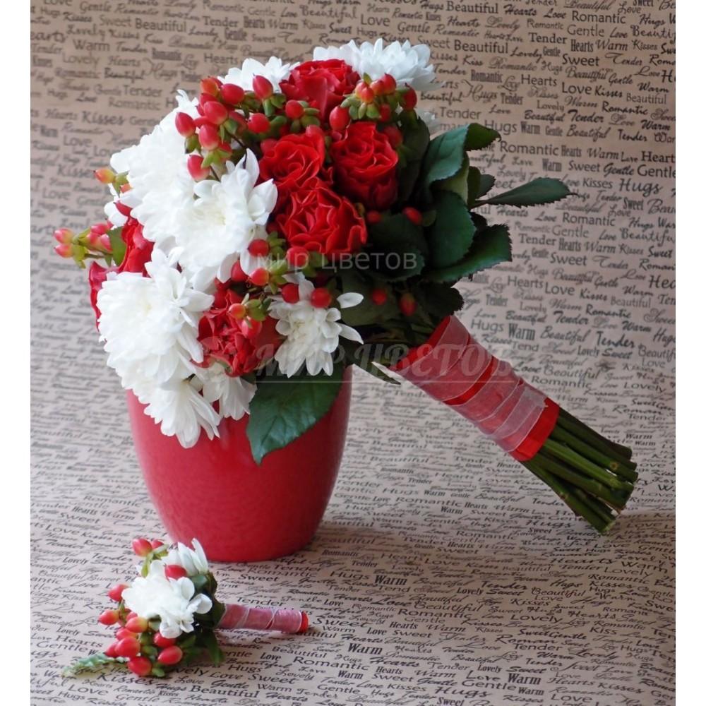 Свадебный Букет 12 Бело - красный тандем
