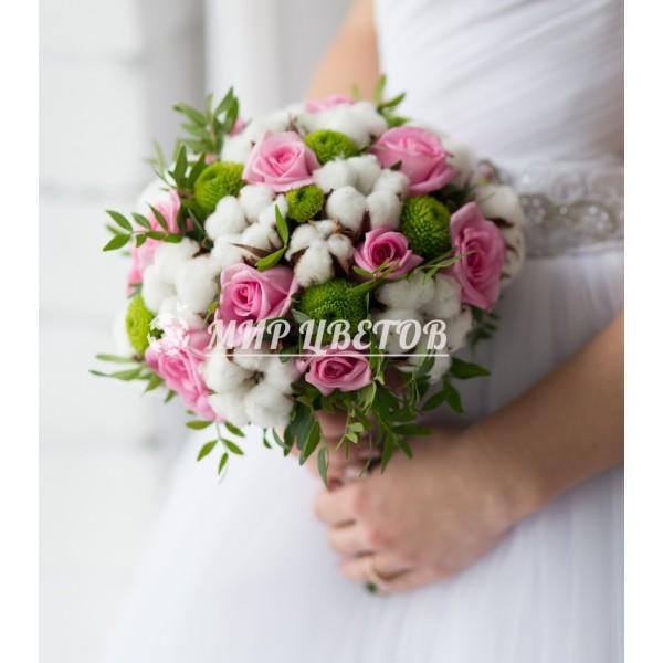Свадебный Букет 26 воздушный хлопок