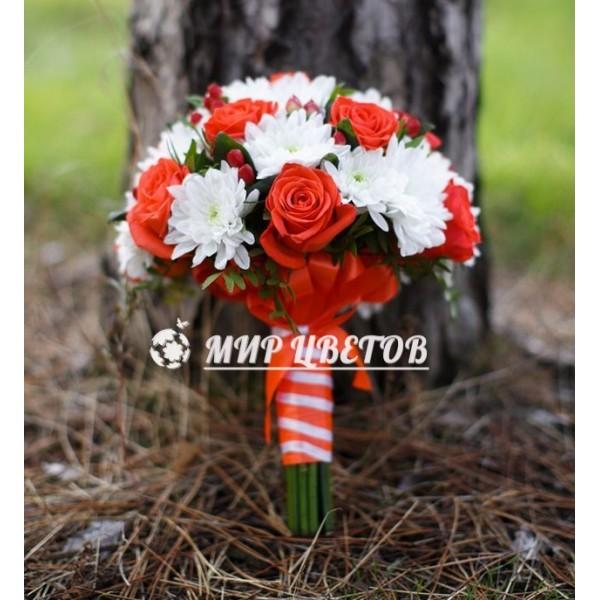 Свадебный Букет 20 коралловый с ягодами